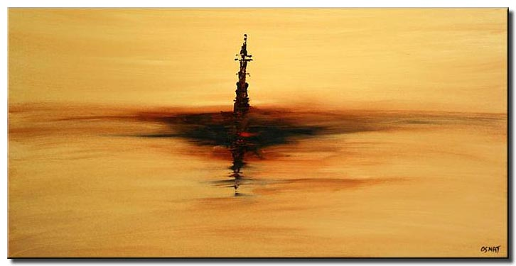 abstract contemporary painting tower minimal lonely