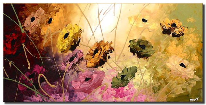 abstract flowers large painting colourful garden