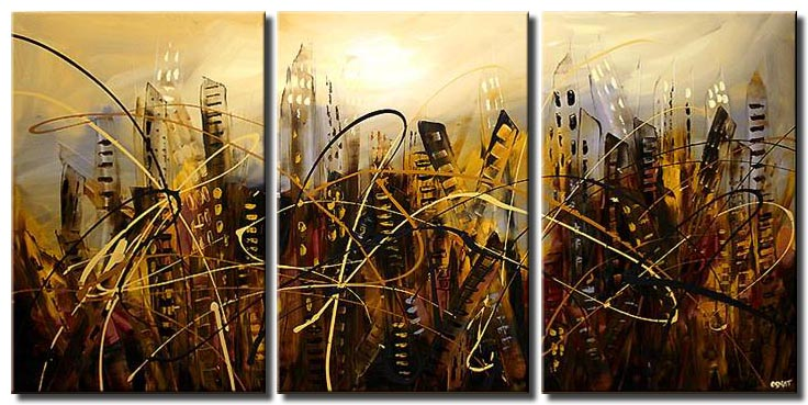 abstract future city painting triptych art