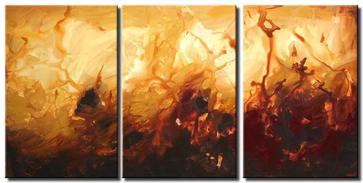 modern wall decor triptych warm colors