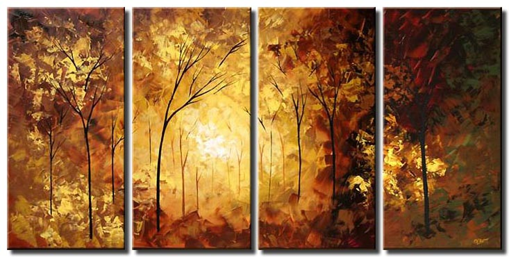 multi panel canvas landscape forest trees monochromatic