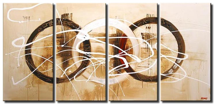 triptych earth tones modern painting geometric circles