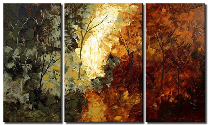 triptych indian summer forest trees