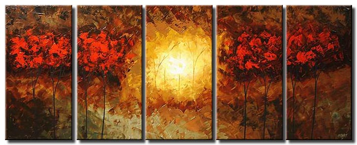 sunrise in the red forest landscape multi panel