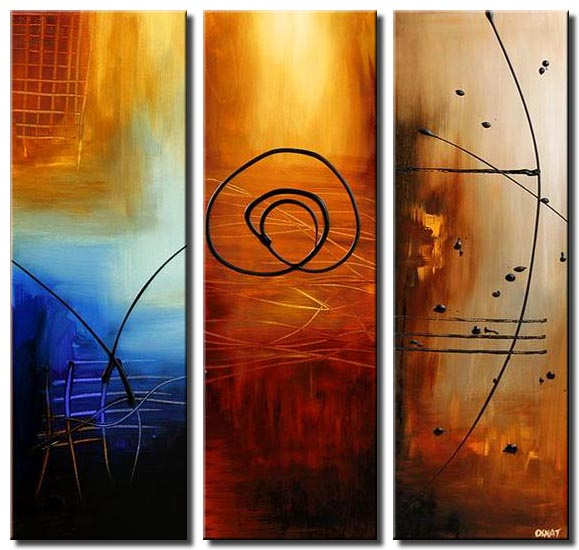 three wishes abstract painting triptych
