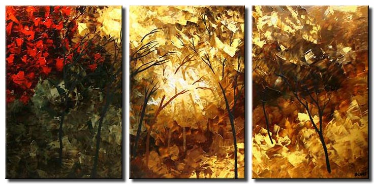triptych canvas forest of light trees