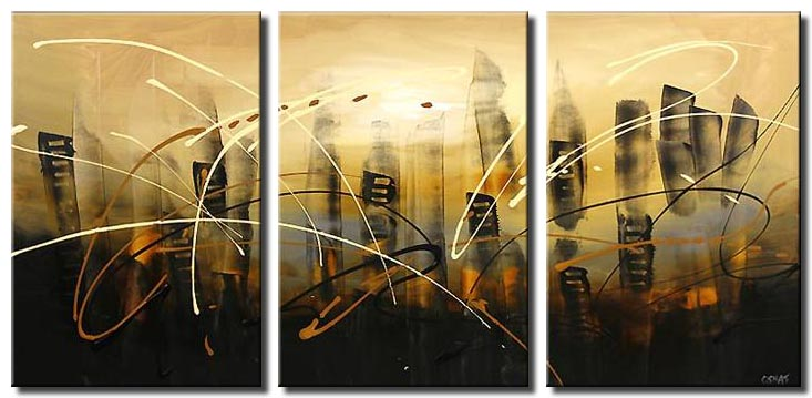 skyscrapers abstract city painting triptych