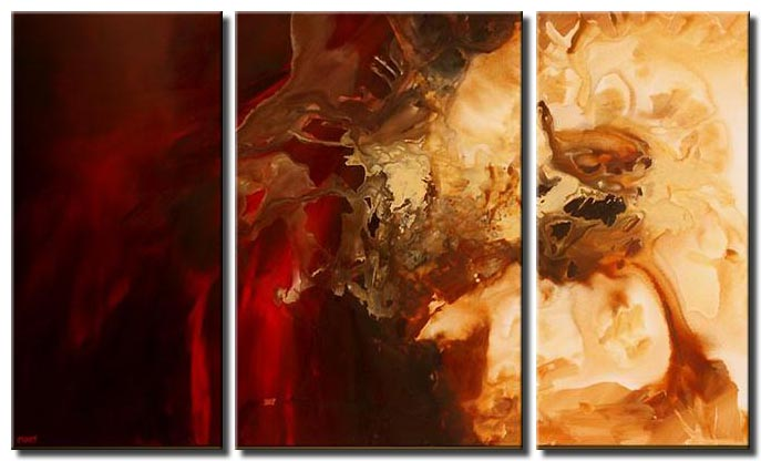 abstract contemporary painting triptych