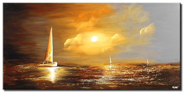 sail boat coming home soft landscape