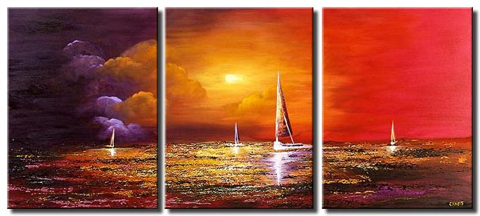 sail boats painting triptych colorful