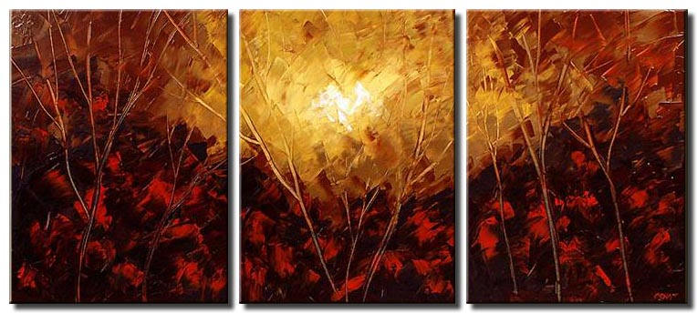 red forest painting triptych floral