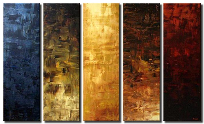 large vertical abstract painting multi panel