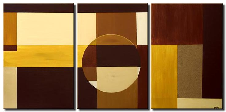 triptych geometrical painting earth tones