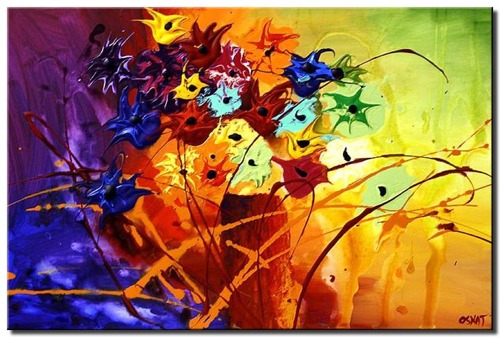 abstract landscape painting colorful floral
