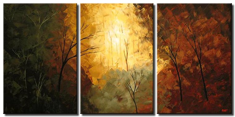 sunrise in the forest triptych earth tones
