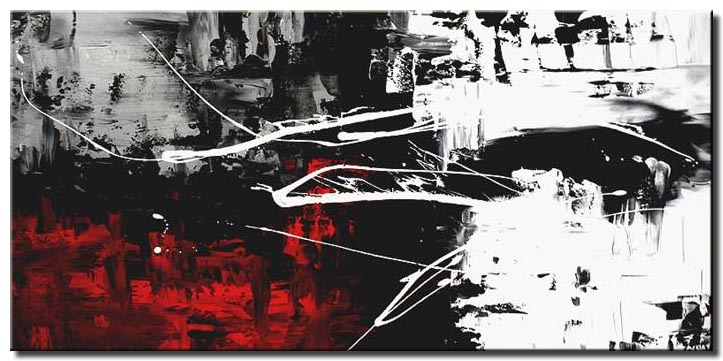 red white black modern painting abstract