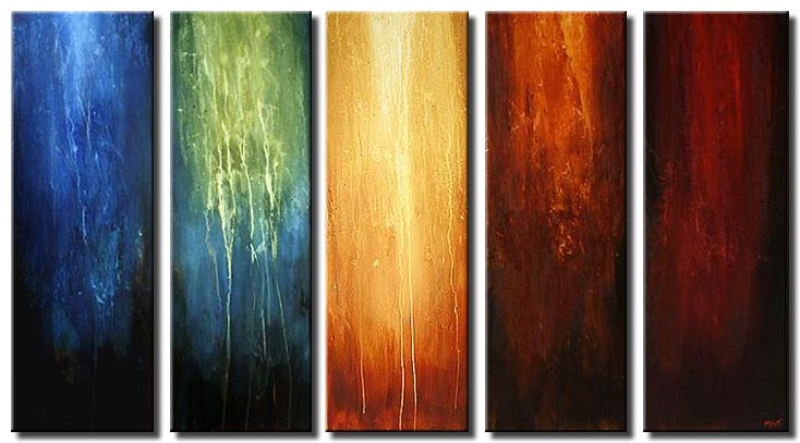 multi panel modern painting colorful