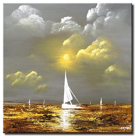 sail boat abstract landscape painting