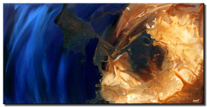 blue abstract painting large wall decor