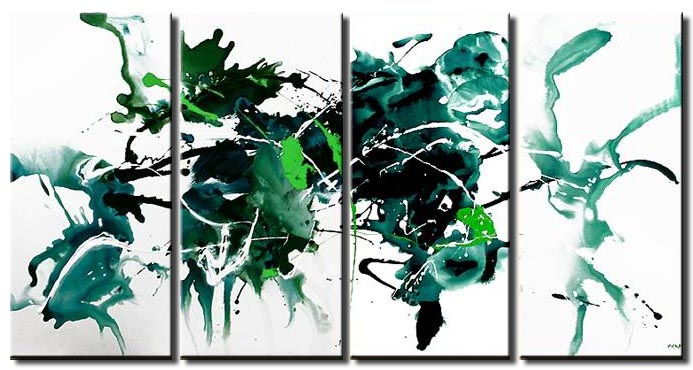 green on white background modern painting