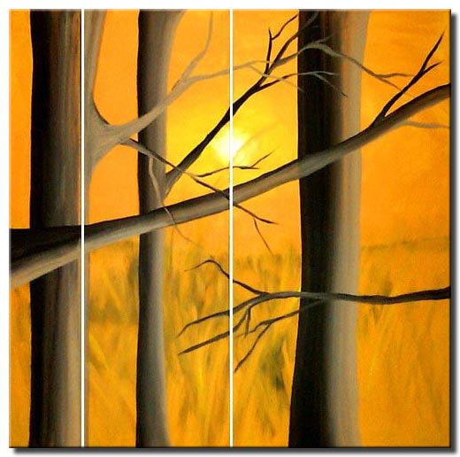 tree sunrise painting
