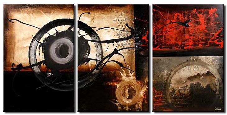 abstract contemporary painting triptych geometric