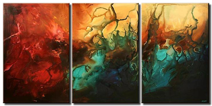 large modern seascape painting triptych