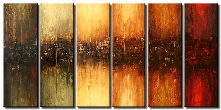 multi-panel colorful painting six panels