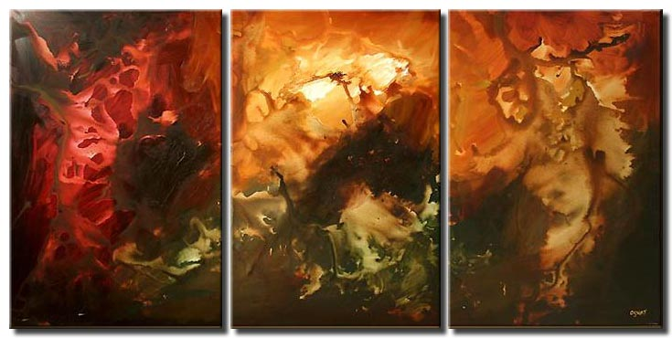 large modern painting triptych start