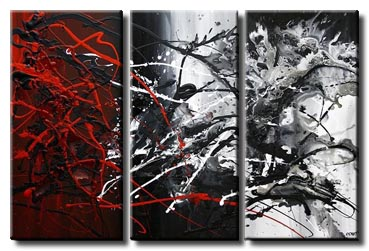 black red white abstract painting