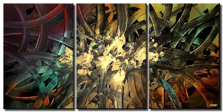 large abstract art triptych colorful decor