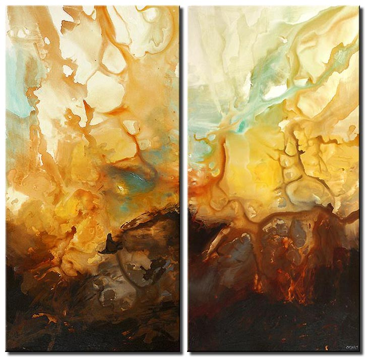 diptych yellow canvas painting vertical