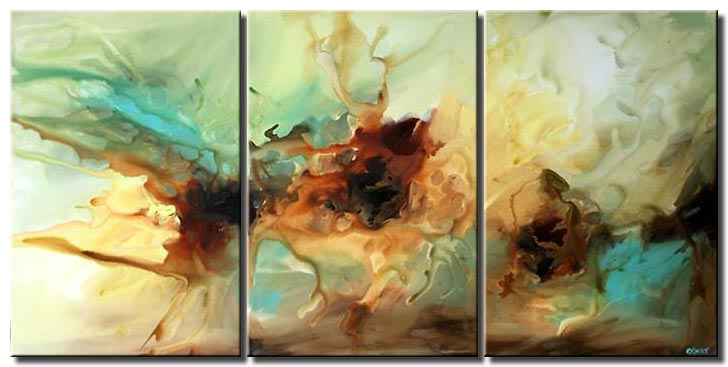 large triptych modern art soft decor