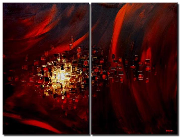colorful painting red eye home decor diptych