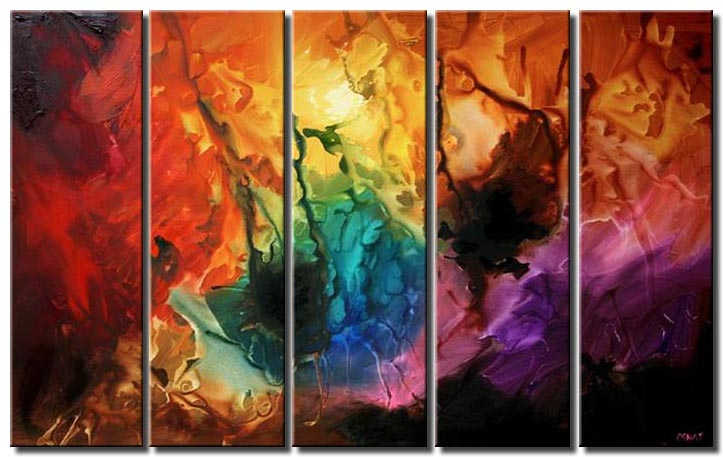 large colorful painting multi panel creation