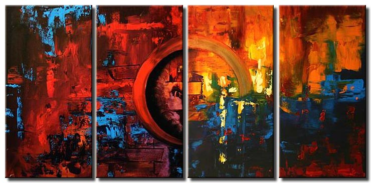 multi panel red painting sunset on mars colorful