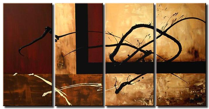 brown and beige abstract painting multi panel