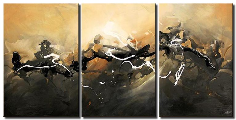 large gray beige painting triptych twilight