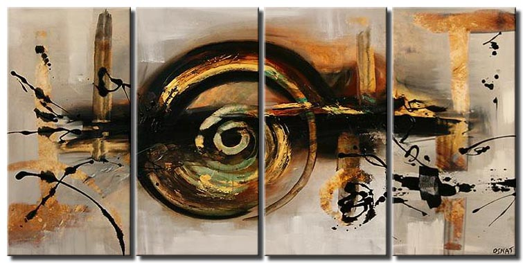 large brown abstract painting multi panel