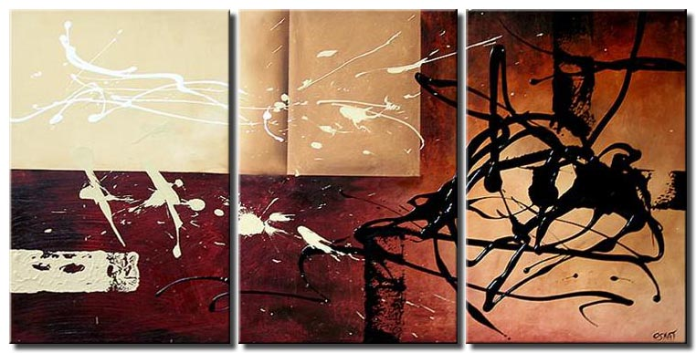 large abstract art triptych modern painting