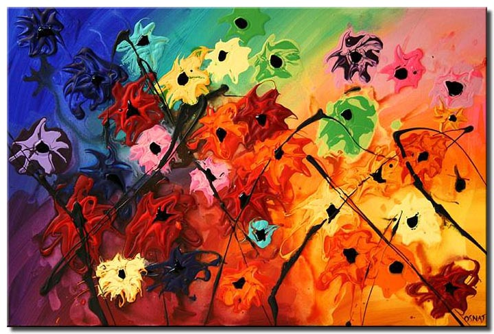 colorful flowers abstract painting floral