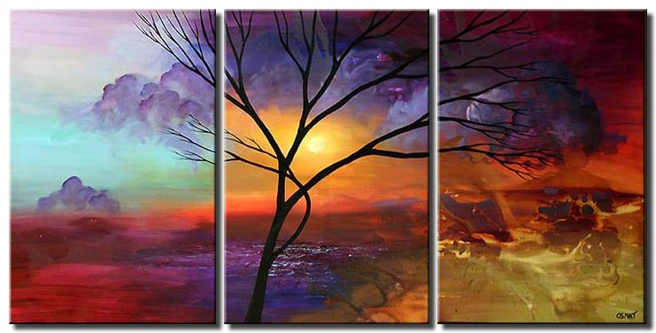 multi panel canvas landscape tree clouds