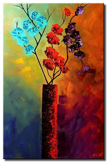 flowers in vase abstract painting colorful