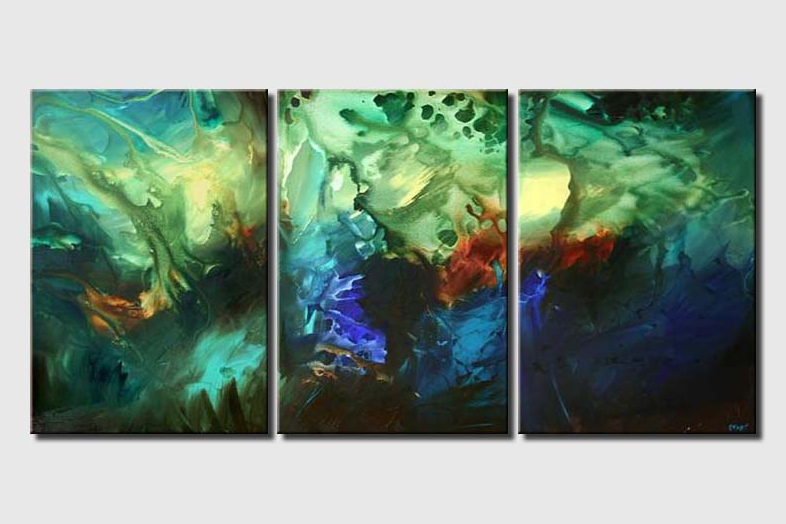 abstract seascape under water triptych