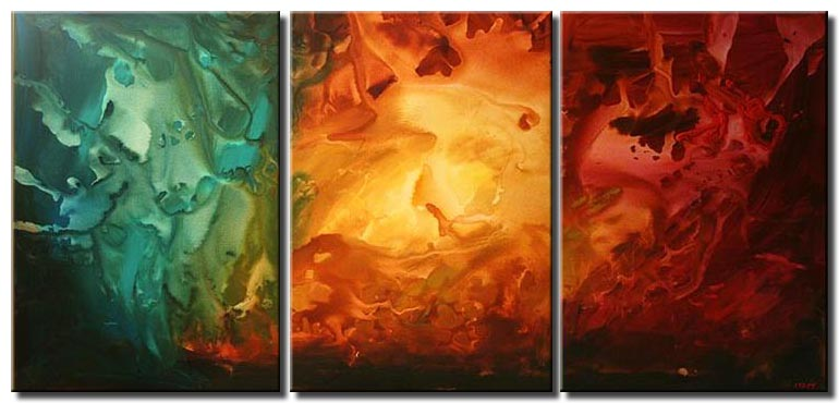 colorful triptych abstract painting home decor