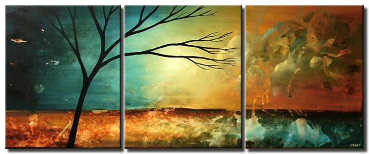 triptych canvas landscape of naked tree