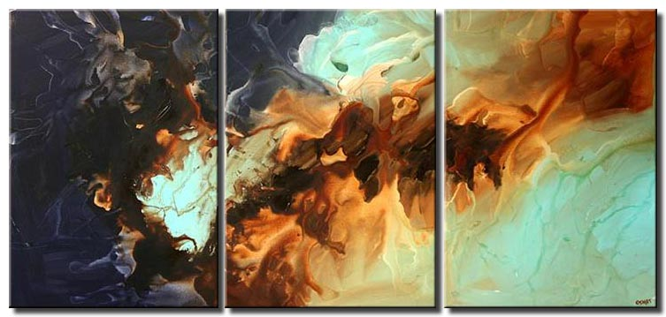triptych modern abstract painting blue brown