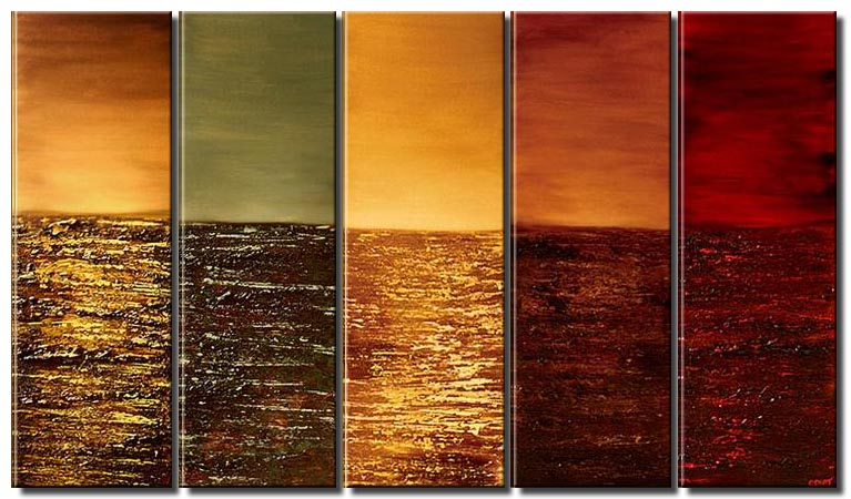 multi panel canvas in red tones colorful