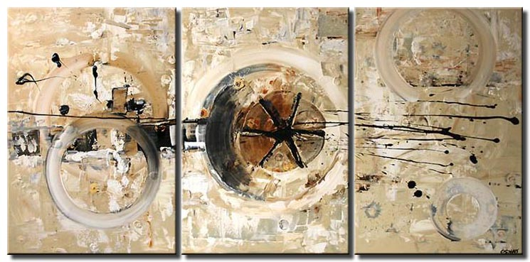triptyc painting in light colors home decor
