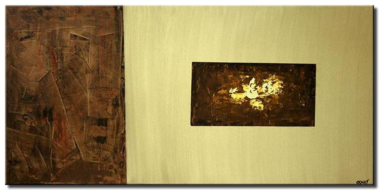 modern abstract painting in brown beige tones